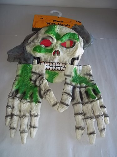 Halloween Green Skull Mask with Bone Gloves