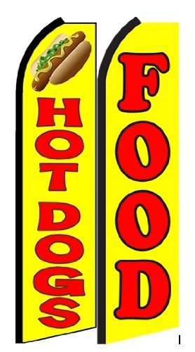 Hot Dogs Food Standard Size Swooper Feather Flag Sign Pk of 2 (11.5x 2.5 Feet) (Hot Dog Feather Flags compare prices)