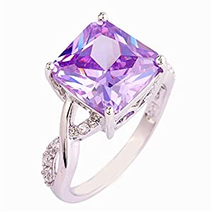 Empsoul 925 Sterling Silver Natural Novelty Created Tourmaline Topaz Engagement Wedding Rings Princess Cut from Empsoul
