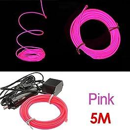 TOOGOO (R) 5M flessibile di EL Wire Neon LED del partito della luce dell'automobile del tubo della fune + 12V Inverter - Rosa