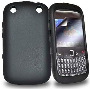 Accessory Master- Noir Housse étui coque en silicone gel en ecran protecteur pour Blackberry curve 9320
