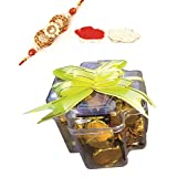 Skylofts Chocolate Check Boxes (set Of 2) With Rakhi & Teeka Combo