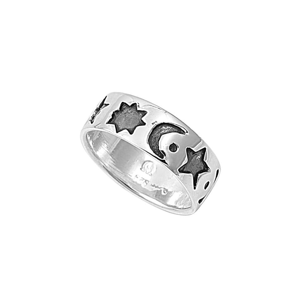 Sterling Silver Star Sun Moon Ring