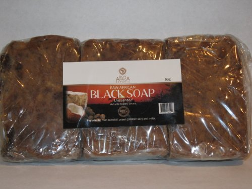 Raw African Black Soap From Ghana, Pure and Organic 1lb