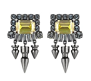 Mawi London Gemstone Earrings with Crystals Long Spikes 5.5cm