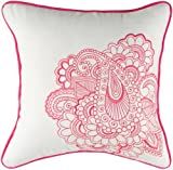 Rizzy Home T-4173 18-Inch by 18-Inch Decorative Pillows, White/Pink, Set of 2