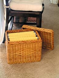 WICKER LETTER SIZE FILE BOX WITH LID