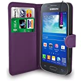 Dark Purple Leather Wallet Flip Case Cover Pouch For Samsung Galaxy Ace 3 S7272 S7575+ Free Screen Protector & Mini Touch Stylus Pen - Dark Purple