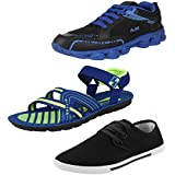 Earton Men Canvas COMBO Pack Of 3 Sports Shoes With Casual Shoes & Sandals