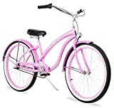 Firmstrong Bella Classic Three Speed Beach Cruiser Bicycle, Pink, 17 inch / Large
