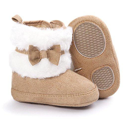 Voberry® Baby Toddler Girls Boys Winter Warm Snow Boot Fur Trimmed Boots Outdoor (6~12Month, Khaki)
