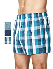 3 Pack Pure Cotton Block Checked Boxers