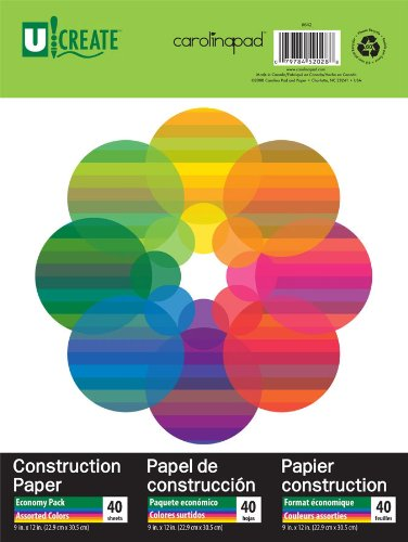 U:Create Construction Paper, 9 x 12 Inches, Assorted Colors, 40 Sheets (642)