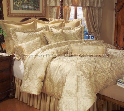 9PCS QUEEN GOLD IMPERIAL COMFORTER SET BED IN A BAG