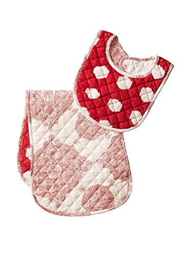 Masala Baby Ikat Dots Bib & Burp Set, Red, One Size - 1