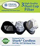 3 Shark XSB726N Washable Dust Cup Filters For Shark Hand Vac Models; SV736, SV748, SV738, SV719, SV70, SV90, SV728 and SV726; Designed & Engineered By Crucial Vacuum