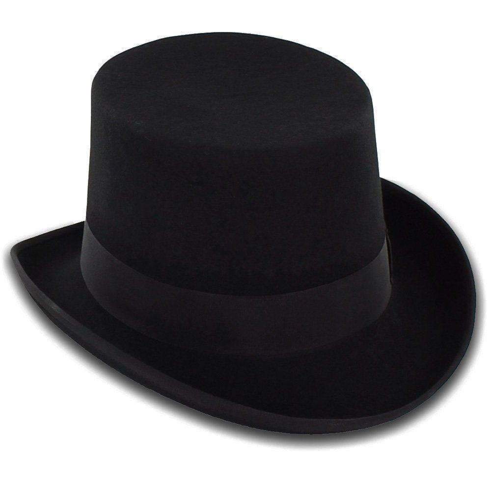 Belfry Topper 100% Wool Satin Lined Men's Top Hat in Black Available in 4 Sizes 1