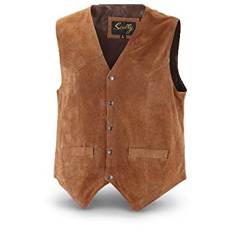 Scully Men's Calfskin Suede Snap Front Vest