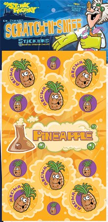 Dr Stinky's PINEAPPLE Scratch-n-Sniff Stickers, 2 sheets 4 x 6 3/4, 26 stickers
