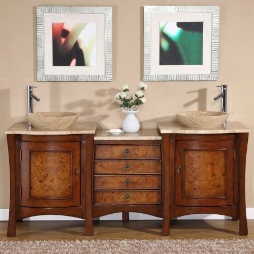 "Silkroad Exclusive HYP-0714-T-TT-72 Vanessa 72"" Double Sink Cabinet with 6 Drawers 2 Doors Travertine Top and Topmount Travertine Sinks (1-Hole) in Red Chestnut"