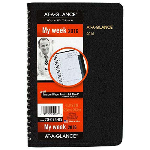 AT-A-GLANCE Weekly Appointment Book 2016, 4.88 x 8 Inches, Black (70-075-05)