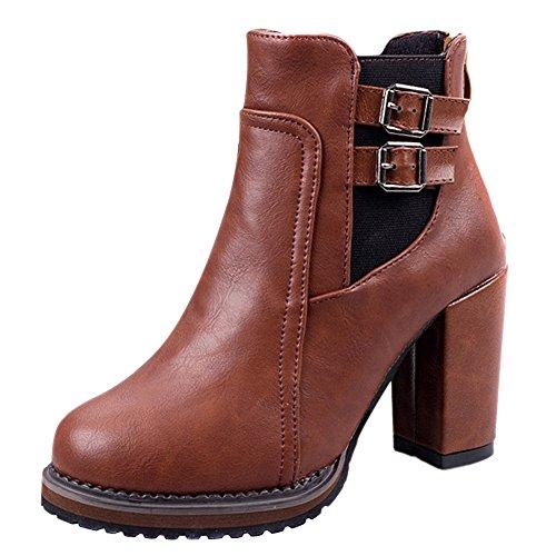 Vonfon Womens British Style Chunky High Heel Buckle Short Boot