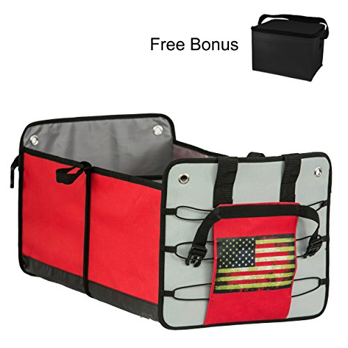 Premium Car Trunk Organizer & Free Cooler Bag- CHRISTMAS GIFT-FOR MEN AND WOMEN- Auto Cargo Storage Container-Perfect for SUV, Truck , Camper , RV , Minivan ,Garage and Groceries Organization.