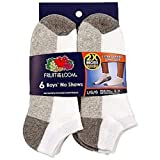 Fruit of the Loom Boy's No Show Large 6 Pack Socks-Size:3-9
