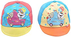 Kandyfloss Babies Caps - Pack of 2 Caps (MRHKFCAPS08, Multi-Colored, 3-6 Months)