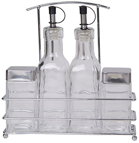 Premium 5Pc Cruet Set,2Pc Oil&Vinegar Bottles,2Pc Salt&Pepper Shakers With 1Pc Chrome Stand front-378154