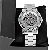 Elegant Orkina Silver Tone Skeleton Steel Mens Casual Mechanical Wrist Watch Hot