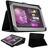 SOHO Portfolio Stand - Nylon Detachable Flip Cover Case (ROYAL BLUE) for Asus Transformer Pad 10.1 Tablets (TF300TL TF300T TF700T TF101) + Matching Blue Handsfree Earphone /Microphone Headphones