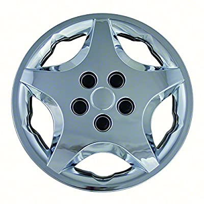 Aftermarket Wheel Covers; 14 Inch; Chrome Finish; Abs; 5 Spoke;