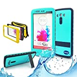 (Surprised) Lg G3 Waterproof Case (Gift for Screen Protect Film and Clean Cloth) Full-body Protective Case Waterproof Shockproof Dustproof Snowproof Case Cover 6.6 Ft Underwater Durable Full Sealed Protection Water Resistant Hard Shell Full-body Protective (Stand Feature) (3 Months Warranty) Case Cover for Lg G3 (Do Not Fit for Lg G3 Mini) (LG G3 XLJ teal)