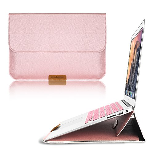 03. Macbook 12 Inch Case Sleeve with Stand Function, Swees® 12 Inch Apple New Macbook Ultrabook Carrying Bag; with rear pocket design, Rose Gold