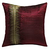 13 Odds Cotemporary Style Reverse Pleating Technique Cushion Cover - Maroon & Gold