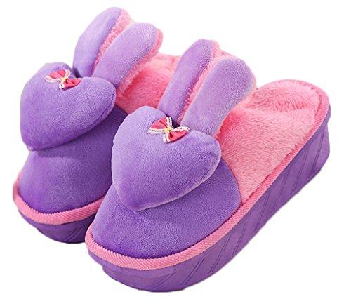 CNYYWISHSTYLE inverno caldo antiscivolo coniglio scarpe col slip on pantofole con papillon cuore