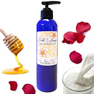 Organic Hand & Body Lotion: Natural Milk & Honey for Sensitive Skin 8 oz from Angel Face Botanicals