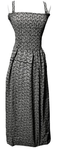 Smocked Black White Paisley Design