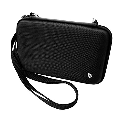 Technoskin - New 3DS XL, 3DS XL - Travel Carrying Case - Black - 8 Game Holders - Hard Cover - Mesh Accessory Pouch - Carrying Strap - Lifetime Guarantee