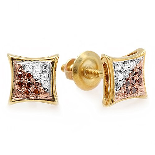0.10 Carat (Ctw) 14K Yellow Gold White & Red Round Diamond Micro Pave Setting Kite Shape Stud Earrings 1/10 Ct