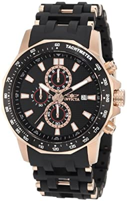 Invicta Men's 1932 Sea Spider Chronograph Black Textured Dial Black Polyurethane Watch