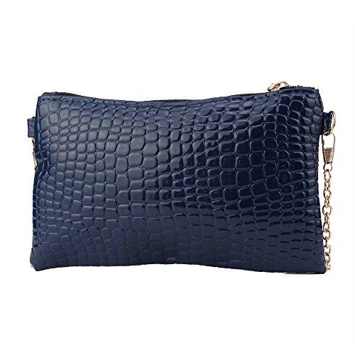 Longra Donne rivestono di pelle Messenger Crossbody spalla della frizione della borsa (Blu)