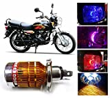 Capeshoppers 3 LED H4 Headlight With Multi Color Flashing Ring For TVS MAX 100 - White