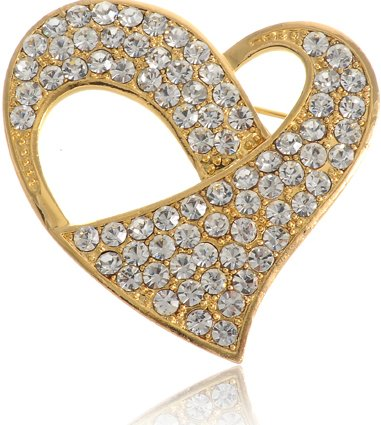 Neoglory Gold Plated Twisted Crystal Heart Pin Brooch