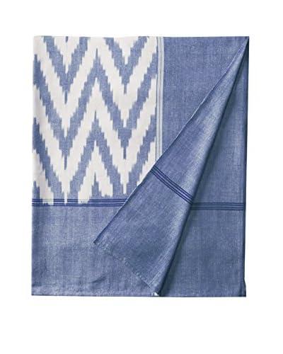 Nomadic Thread Society Ikat Zig Zag Bed Cover, Blue/White