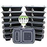 Freshware 15-Pack 2 Compartment Bento Lunch Boxes with Lids - Stackable  Reusable  Microwave  Dishwasher & Freezer Safe - Meal Prep  Portion Control  21 Day Fix & Food Storage Containers (25oz)