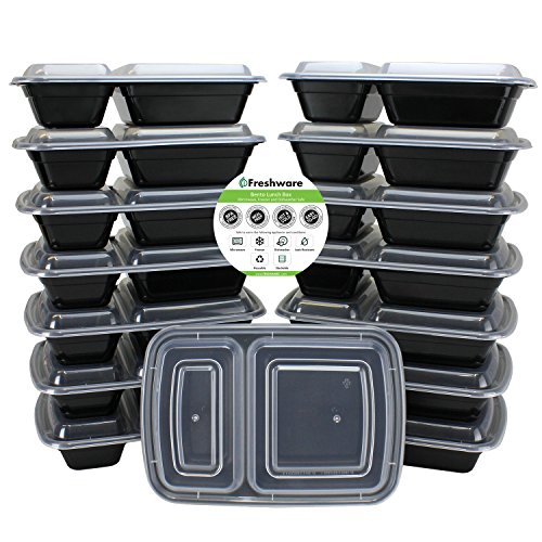 Freshware 15-Pack 2 Compartment Bento Lunch Boxes with Lids - Stackable, Reusable, Microwave, Dishwasher & Freezer Safe - Meal Prep, Portion Control, 21 Day Fix & Food Storage Containers (25oz) (21 Day Meal Containers compare prices)