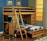 Twin Size Loft Bed with Desk in Amber Wash Finish