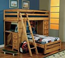 Big Sale Twin Size Loft Bed with Desk in Amber Wash Finish